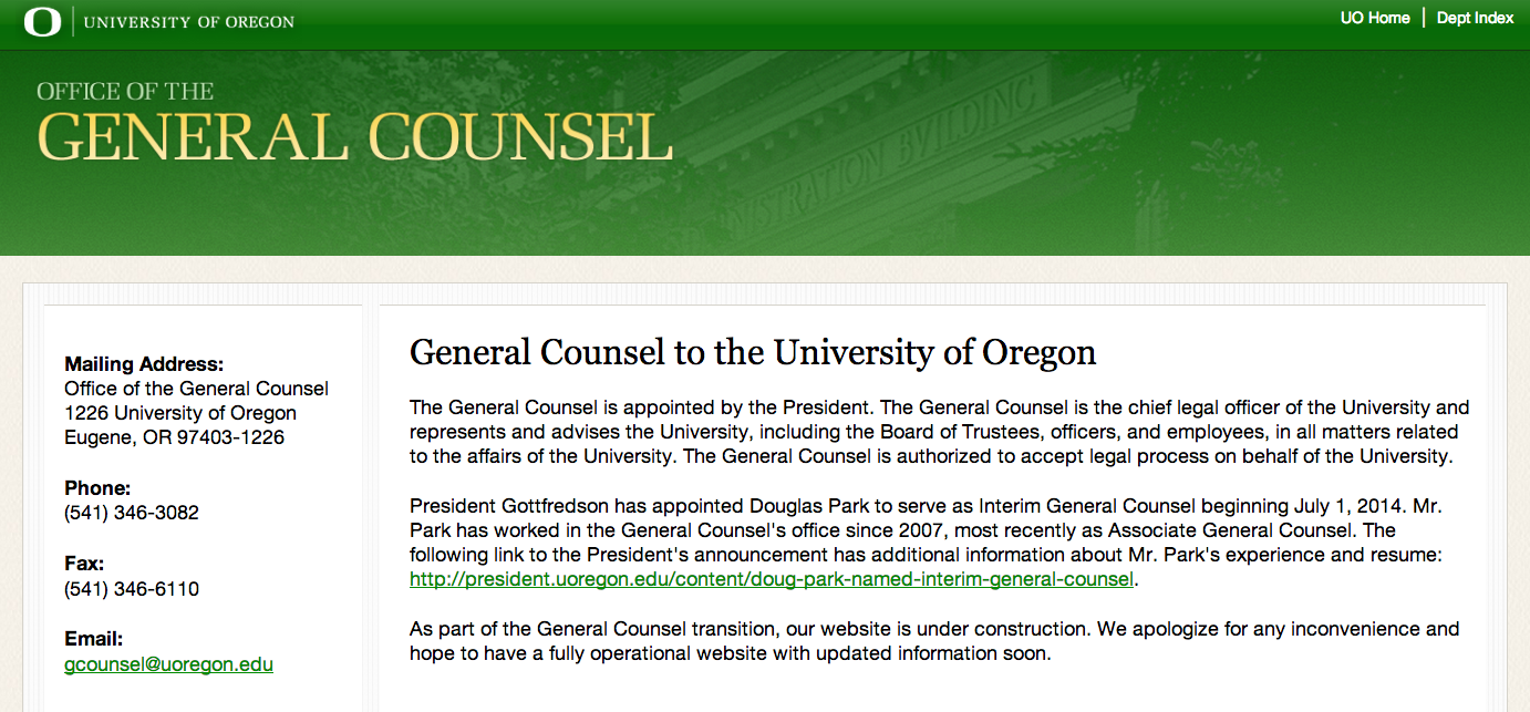 Uo General Counsel S Office Loses Another One Uo Matters