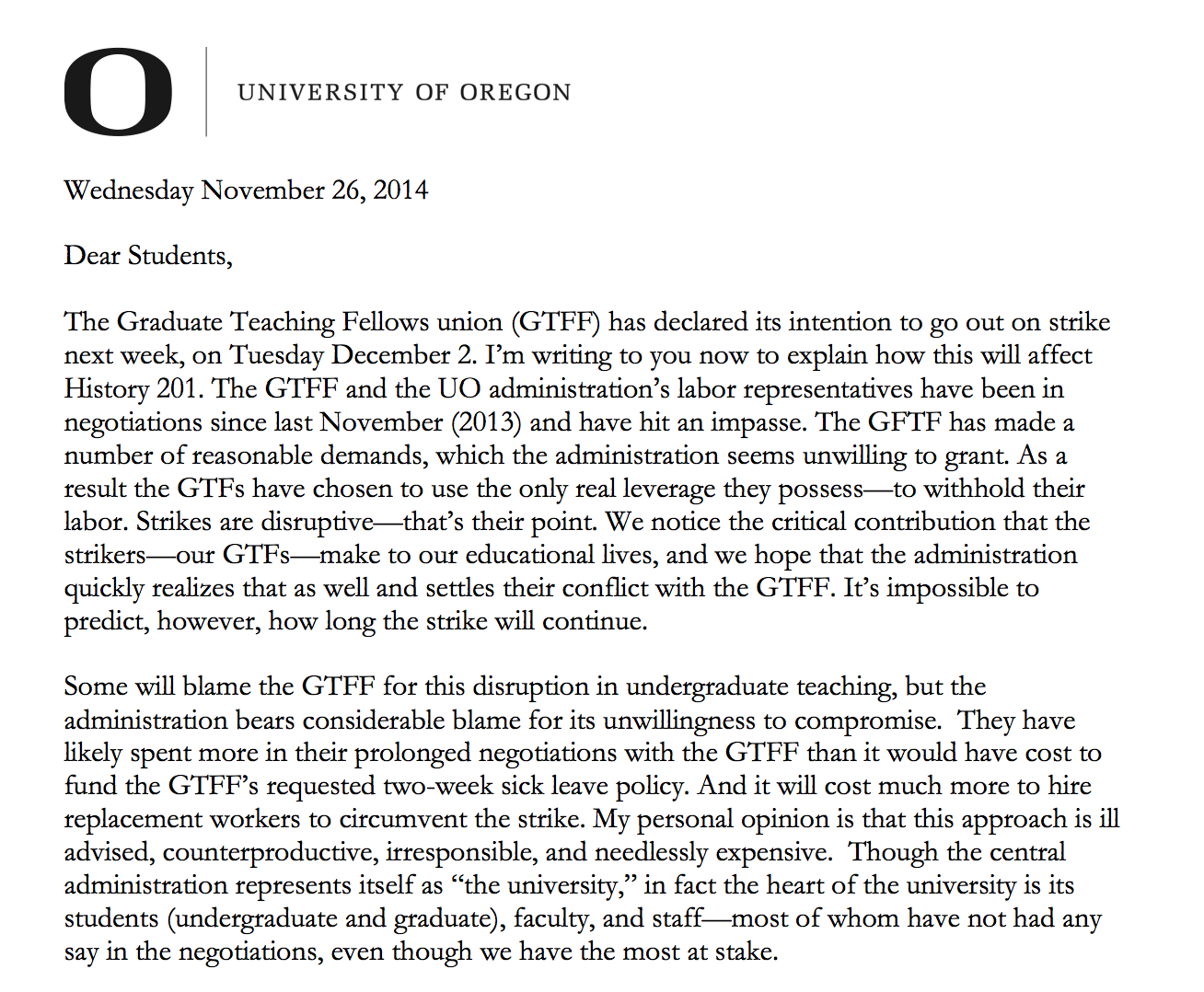 CAS Dean Andrew Marcus asks undergrads to rat out striking grad – Thank You Letter to Professor