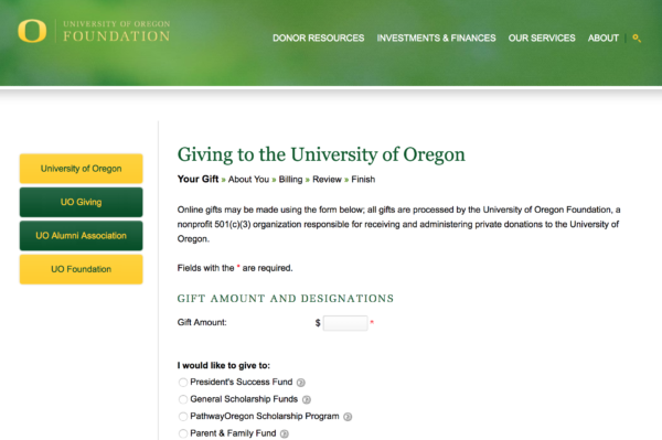 How to give money to SAIL, the University of Oregon, & state